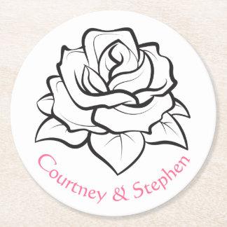 För vit rosblomma för blommigt svart bröllopsfest underlägg papper rund