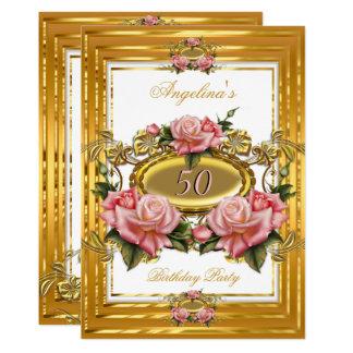 För vitblommigt för elegant rosa ros guld- 12,7 x 17,8 cm inbjudningskort