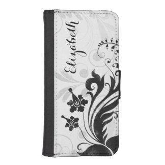För vitblommigt för personlig svart elegant iPhone SE/5/5s plånbok