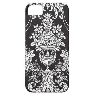 För vitblommigt för vintage svart damast iPhone 5 Case-Mate fodral