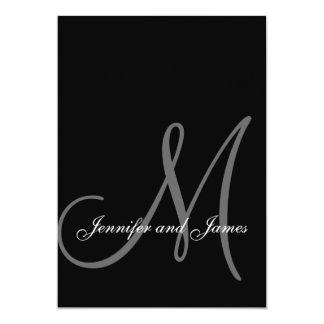 För vitbröllop för elegant initiala svart 12,7 x 17,8 cm inbjudningskort