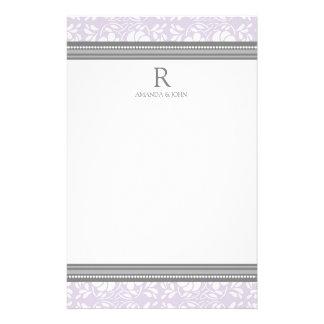 För vitbröllop för lila grå brevpapper för Monogra