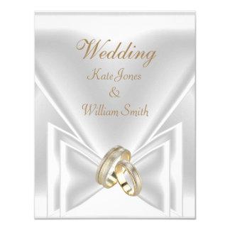 För vitguld för bröllop eleganta ringar 10,8 x 14 cm inbjudningskort