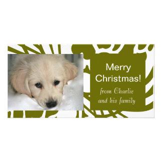För vithund för elegant gröna kort för foto för ju anpassade foto kort