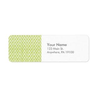 För vitIkat för Monogram grönt mönster för Returadress Etikett