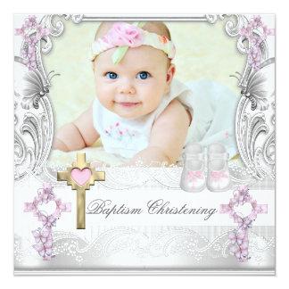 För vitkor för dop rosa Christening för foto för Fyrkantigt 13,3 Cm Inbjudningskort