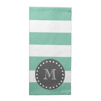 För vitrandar för Mint grönt mönster, kol Monogra Tygservett