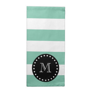 För vitrandar för Mint grönt mönster, svart Tygservett