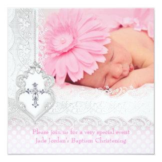 För vitsnöre för dop rosa flicka för kor för juvel fyrkantigt 13,3 cm inbjudningskort