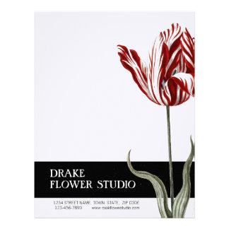 För vittulpan för vintage röd brevhuvud för blomst
