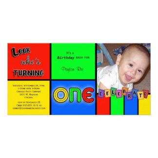 För Whos för färgrik Look inbjudan roterande 1 föd Fotokort