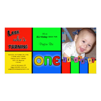 För Whos för färgrik Look inbjudan roterande 1 Fotokort