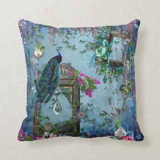 För wisteriablått för påfågel trädgårds- rosor för kudde