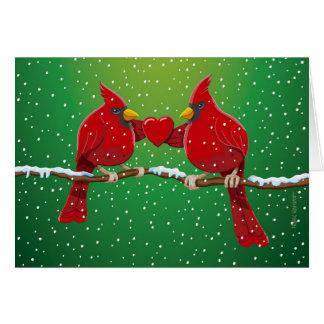 För X-mas för hälsningkort kärlek för Snowing röd Hälsningskort