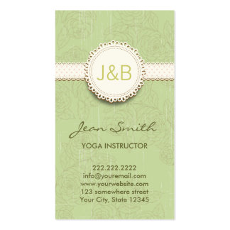 För Yogainstruktör för vintage blom- visitkort