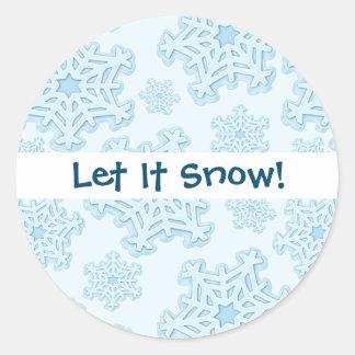 För Yule för jul för vinterblåttSnowflake is för Runt Klistermärke