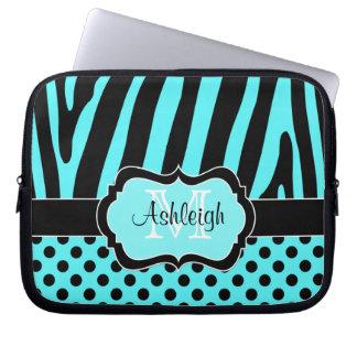 För zebra ränderpolka dots för Aqua svart fodral f Laptopfodral