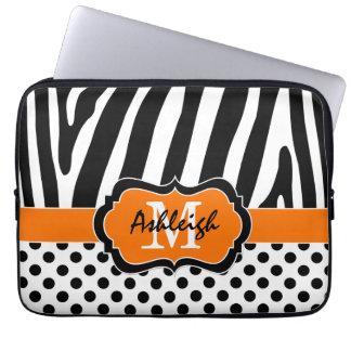 För zebra ränderpolka dots för orange svart fodral laptopskydd