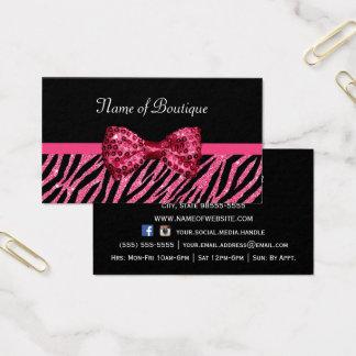 För zebra tryckFAUX för chic Boutique rosa pilbåge Visitkort