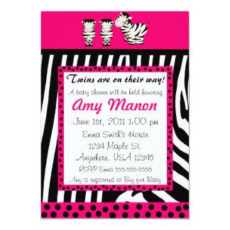 För zebra tryckpersonlig för twillingar rosa baby 12,7 x 17,8 cm inbjudningskort