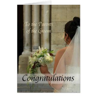 Föräldrar av brudgumbröllopgrattisen hälsningskort