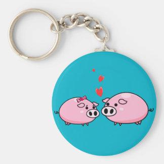 Förälskad keychain för grisar rund nyckelring