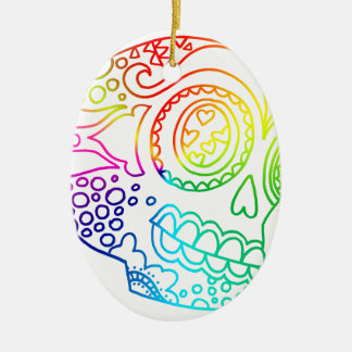 Förälskad skalle för regnbågelinjersocker julgransprydnad keramik