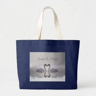 Förälskade svanar - hänga lös jumbo tygkasse