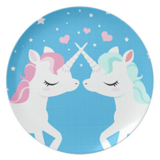 Förälskade Unicorns pläterar Tallrik