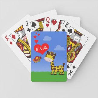 Förälskat leka kortdäck för giraff och för fjäril casinokort