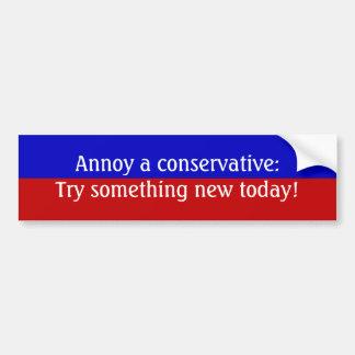 Förarga en konservativ: Försök något som är ny i d Bildekal