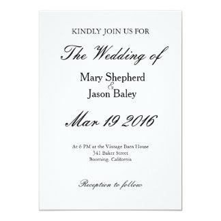 Förbigå designbröllopinbjudan 12,7 x 17,8 cm inbjudningskort