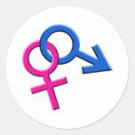 FörbindelseMale och kvinnliga symbolklistermärkear Runda Klistermärken
