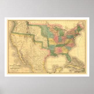 Förbluffa US Amerika kartlägga 1839 Poster