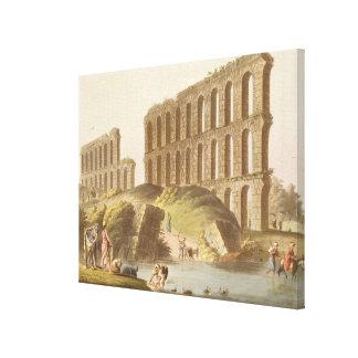 Fördärvar av den storslagna akvedukten av forntida canvastryck