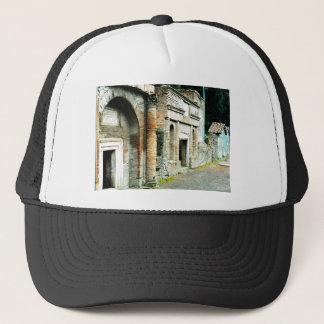 Fördärvar av Pompeii - marknadsplats med tempel Truckerkeps