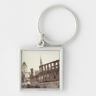 Fördärvar nära pudratidskriften, Ypres, Juni 1915 Fyrkantig Silverfärgad Nyckelring