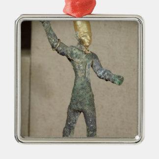 Förebild av gudbaalen, från Ugarit, Syrien Silverfärgad Fyrkantigt Julgransprydnad