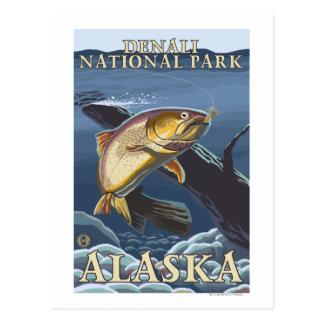 Forell som fiskar tvärsnitt 3 vykort