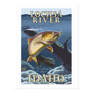 Forell som fiskar tvärsnittet - Lochsa flod, Vykort