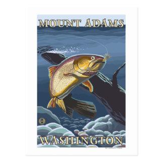Forell som fiskar tvärsnittet - montering Adams, Vykort