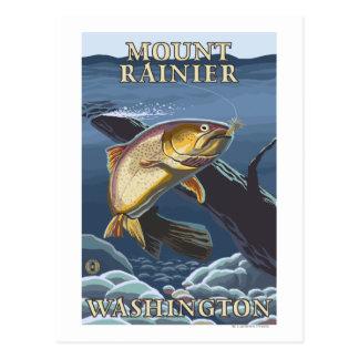 Forell som fiskar tvärsnittet - Mount Rainier, Vykort
