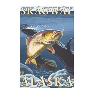 Forell som fiskar tvärsnittet - Skagway, Alaska Canvastryck
