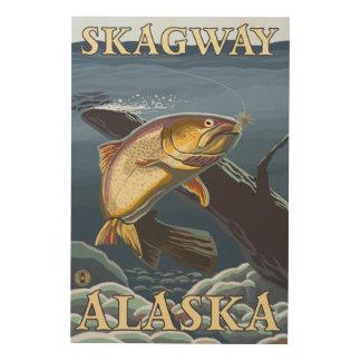 Forell som fiskar tvärsnittet - Skagway, Alaska Trätavla