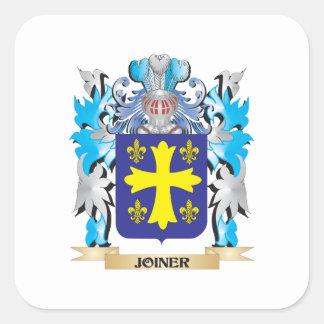 Föreningsmänniskavapensköld - familjvapensköld fyrkantigt klistermärke