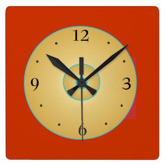 Förenklad röd gult med Green>Kitchen tar tid på Fyrkantig Klocka