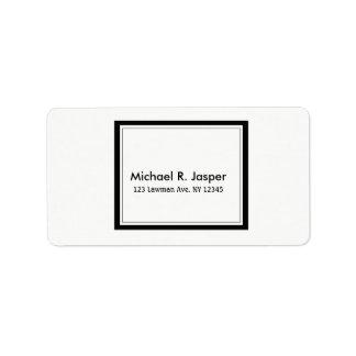 Förenklat Minimalist svartvitt Adressetikett