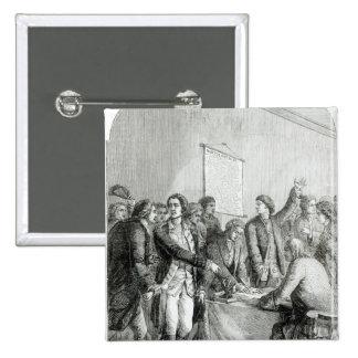 Förenta staterna förklaring av självständighet standard kanpp fyrkantig 5.1 cm