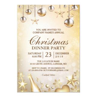 Företags julfest för guld- prydnadjul 12,7 x 17,8 cm inbjudningskort