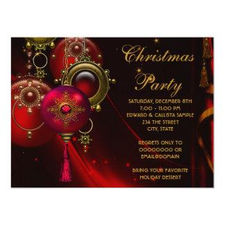 Företags julparty för röda guld- prydnadar 16,5 x 22,2 cm inbjudningskort